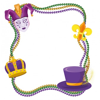 Beads and mardi gras elements frame