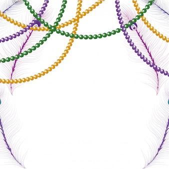 Beads mardi gras frame