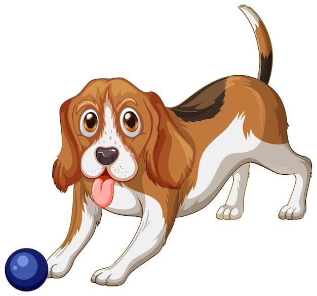 白い背景の上のビーグル犬の漫画
