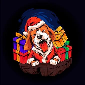 Бигль собака рождественская иллюстрация премиум векторы