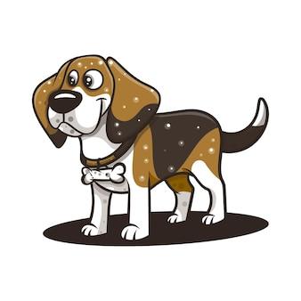 캐릭터, 아이콘, 로고, 스티커 및 일러스트레이션용 Beagle Dog 프리미엄 벡터