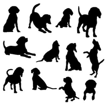 ビーグル犬のシルエットアクションベクトルイラストeps10