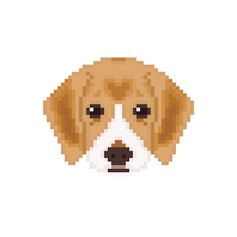 Beagle puppy head in pixel art style.
