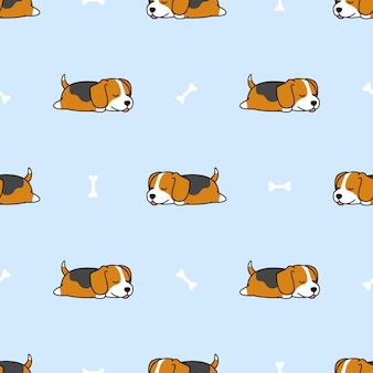 Beagle puppy sleeping with bone seamless pattern