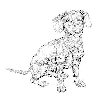 ビーグル犬の手描き