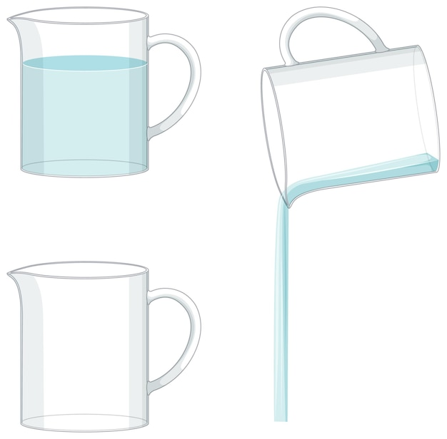 Beaker filled with water and blank beaker