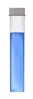 Beaker with blue liquid flask