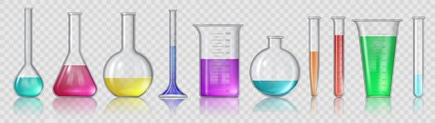 화학 물질이 든 비커. 현실적인 3d 실험실 유리 장비, 테스트 튜브 및 플라스크. 의료 또는 과학 연구 벡터 세트를 위한 실험실 유리. 액체 독성 측정, 테스트 도구 및 분석