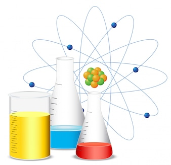 Beakers filled with colorful liquid
