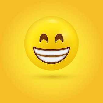 Beaming emoji face with smiling eyes and full-toothed grin or a broad open smile - 3d character