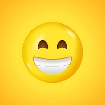 笑顔の目と口で輝く顔の絵文字