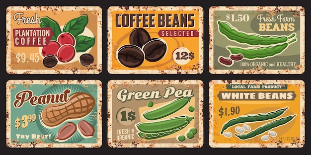 Bean, peanut, coffee and green pea tin signs of farm food and legume