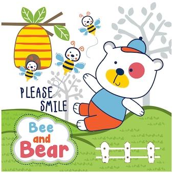 Медведь и пчела играют в саду забавное животное мультфильм