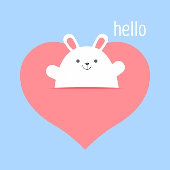 クマと大きなハートのアイコン。かわいい面白い漫画のキャラクター。幸せなバレンタインデー。