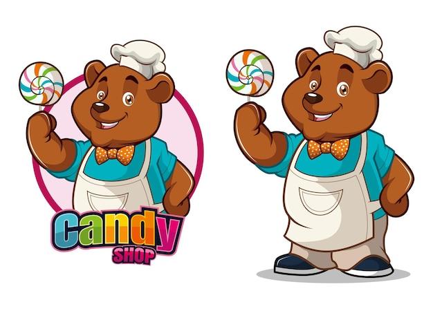 곰과 사탕 가게 캐릭터 마스코트 디자인
