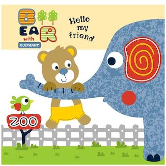 動物園の面白い動物の漫画のクマと象