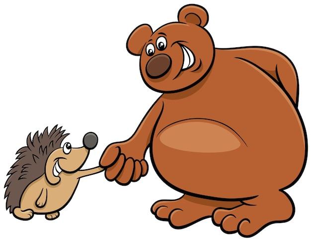 クマとハリネズミの漫画の動物のキャラクター