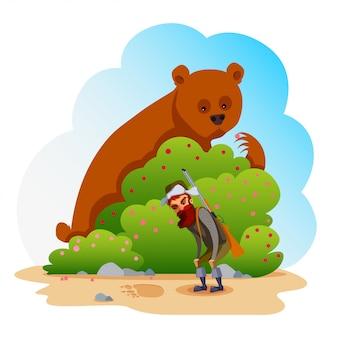 クマとハンター。