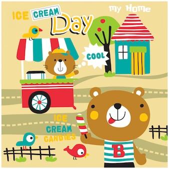クマとアイスクリームの面白い動物漫画、イラスト