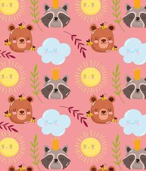クマとアライグマのシームレスパターン