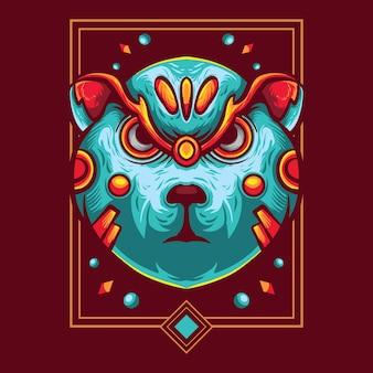 Bear angry cyborg logo vector