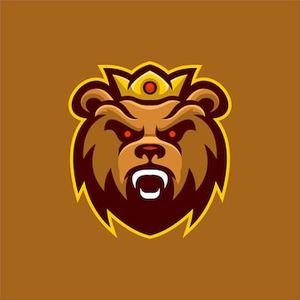 Bear animal head cartoon logo template illustration. esport logo gaming premium vector