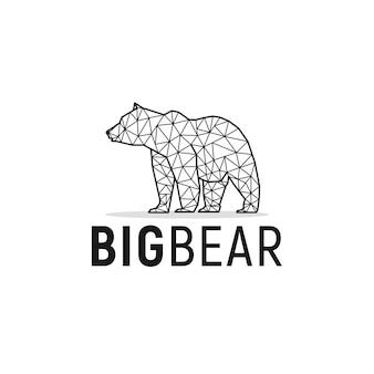 Bear animal logo design with monocrome