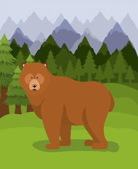 Bear animal and pine trees