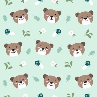 Bear animal seamless pattern