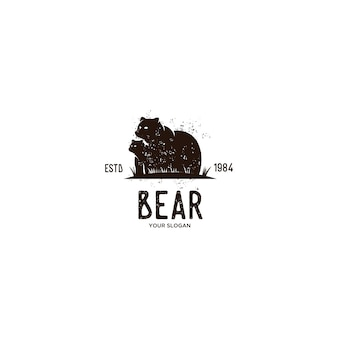 Bear animal vintage logo