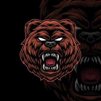 Bear artwork illustration design logo