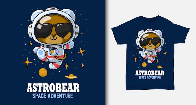 Bear astronaut cartoon. with t-shirt design.