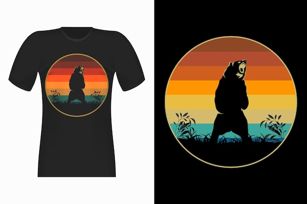 熊の攻撃シルエットスタイルヴィンテージレトロtシャツデザインイラスト
