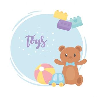 Медведь мяч и машина играют в мультфильм детские игрушки