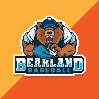 Bear baseball logo. bear holding ball of baseball. e sport logo.