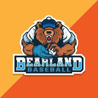 곰 야구 로고. 야구의 공을 들고 곰. e 스포츠 로고.