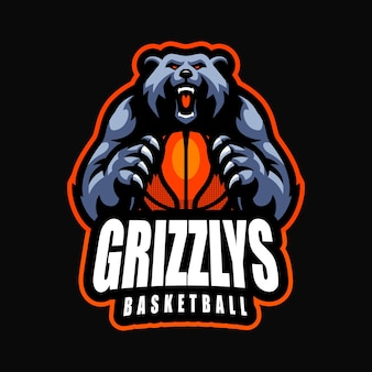 Bear basketball esport mascot cartoon logo vector template