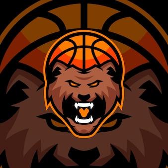 곰 농구 스포츠 로고 템플릿
