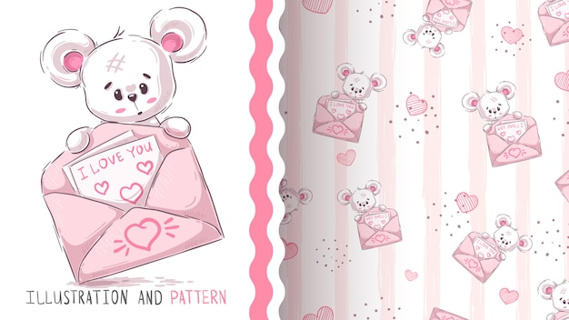 Bear and bear  seamless pattern
