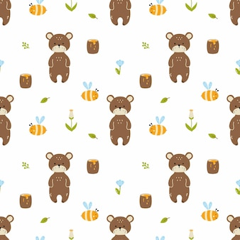 クマ、ミツバチ、ハチミツ。子供服の縫製、布地への印刷、包装紙のシームレスパターン。子供のユニバーサル壁紙。男の子と女の子のためのデザイン。