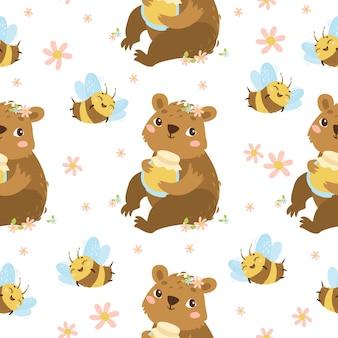 Bear and bee seamless pattern