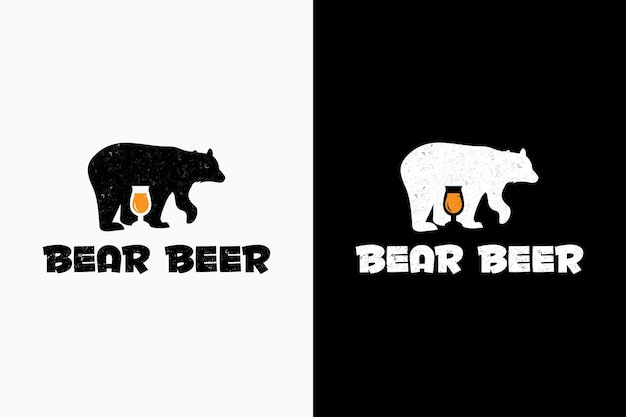 Bear beer logo hipster vintage retro vector icon illustration