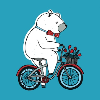 The bear on the bicycle with basket and flowers.