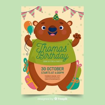 Bear birthday invitation template