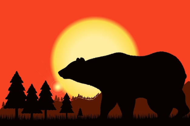Bear black silhouette on background of the sunset and mountain landscape  rock woods forest