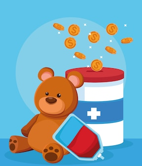 Bear, blood bag and donation tin with money coins, colorful design