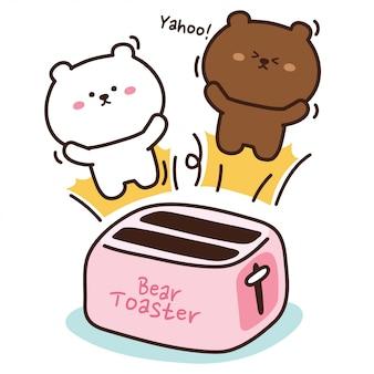 ピンクのトースターから飛び出るパンをクマ、手描きイラスト