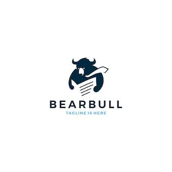 Bear bull reading newspaper wearing tie logo mascot icon vector template illustration Premium Vector