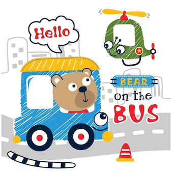 Bear on the bus funny animal cartoon