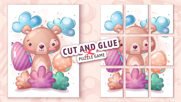 Bear in bush cut and glue  puzzle game